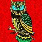 Colorful Abstract Owl Line Drawing Red Damasks Background by artonwear