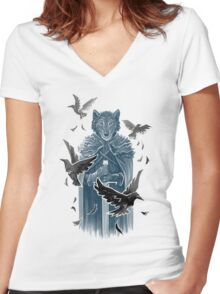 Wolf And Ravens Women's Fitted V-Neck T-Shirt
