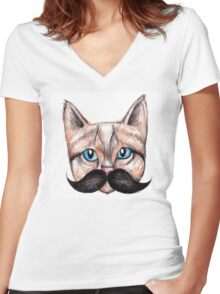 Moustache Cat Women's Fitted V-Neck T-Shirt