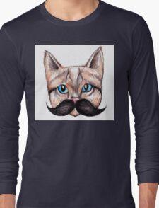 Moustache Cat Long Sleeve T-Shirt