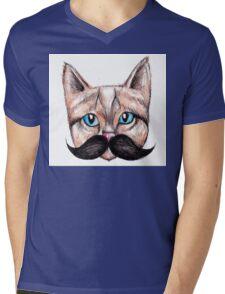 Moustache Cat Mens V-Neck T-Shirt