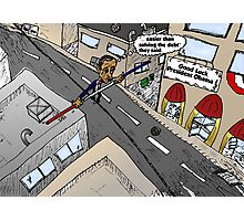 Obama on a wire cartoon Photographic Print