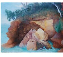 Conningham Cliff Face Cracking a Smile by Sharon Waldron Blaschke