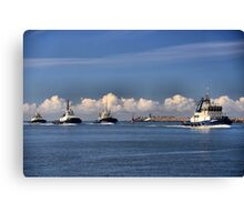 Harbour SVITZER tugs in a Row - Newcastle Harbour NSW Australia Canvas Print