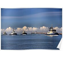 Harbour SVITZER tugs in a Row - Newcastle Harbour NSW Australia Poster