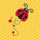 Love bug ladybug / ladybird red & yellow by Sarah Trett