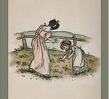 Greetings-Kate Greenaway-Mother/Daughter Picking Flowers by Yesteryears