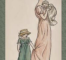 Greetings-Kate Greenaway-Mother with Baby and Daughter by Yesteryears