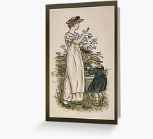 Greetings-Kate Greenaway-Mother/Daughter with Baskets Greeting Card