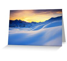 Sunset in the mountains in the Alps Greeting Card