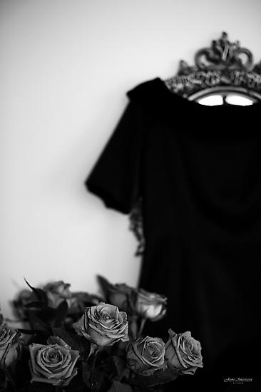 ...roses......black dress.......black/white version by Jane Anastasia Studio
