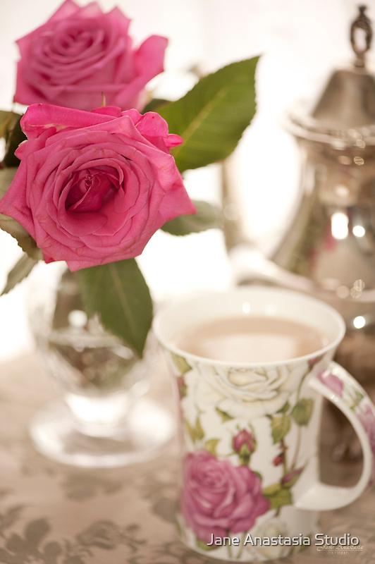 ...pink roses....afternoon tea......... by Jane Anastasia Studio