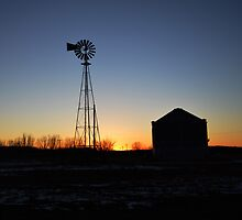 Windmill At Sunset by RenieRutten