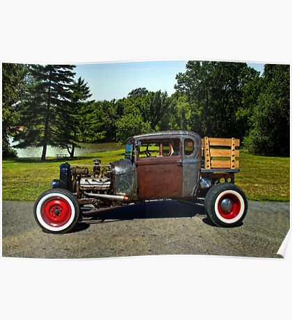1928 Ford Model A Pickup Truck Rat Rod Poster
