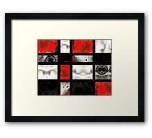 Modern Red And Black Blocks - Abstract Painting Framed Print