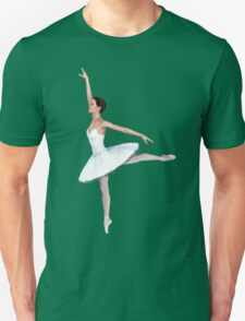 'Swan' Ballerina in White Tutu and Pointe Shoes T-Shirt