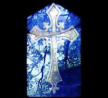 Blue Crucifix on Glass Window - Original by HazardousCoffee
