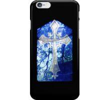 Blue Crucifix on Glass Window - Original iPhone Case/Skin