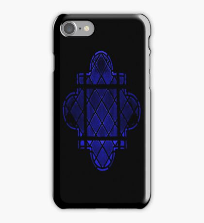 Gothic Leaded Glass Window, in Blue iPhone Case/Skin