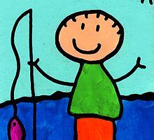 Happi Arte 2 - Boy Fish Art by Sharon Cummings