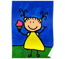 Happi Arte 3 - Little Girl Ice Cream Cone Art Poster