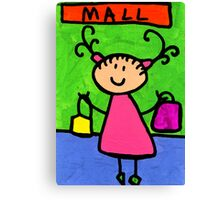Happi Arti 5 - Shopaholic Little Girl Art Canvas Print