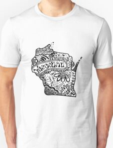 Hipster Wisconsin State Zentangle T-Shirt