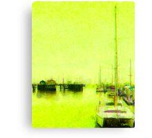 Yellow Mooring - Monterey Boat Harbor, Monterey , CA Canvas Print