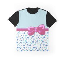 Ribbon, Bow, Dots, Spots - Blue White Pink Graphic T-Shirt