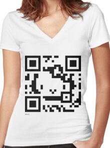 QR Code - Hello Kitty Women's Fitted V-Neck T-Shirt