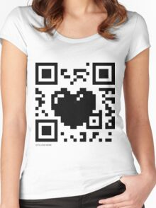 QR Code - Love Heart Women's Fitted Scoop T-Shirt