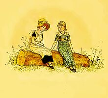 Vintage-Two Girls on Log iPhone Case by Yesteryears