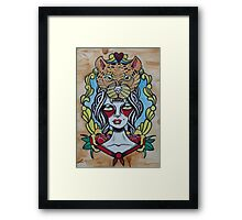 Lady With Cheetah Framed Print