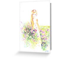 GIRL WITH RED HAIR Greeting Card