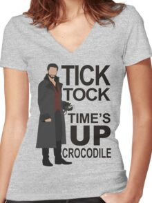 Captain Hook - Tick Tock Women's Fitted V-Neck T-Shirt