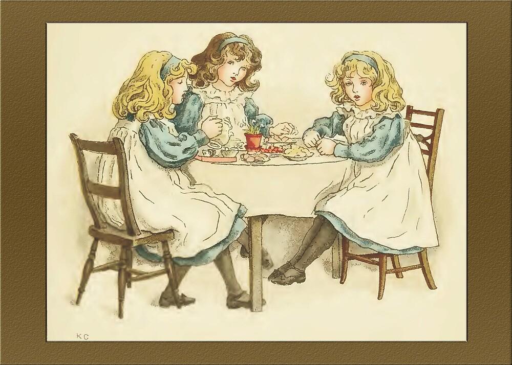 Greetings-Kate Greenaway-Three Girls at Table by Yesteryears