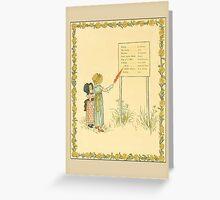 Greetings-Kate Greenaway-Two Girls Reading Sign Greeting Card