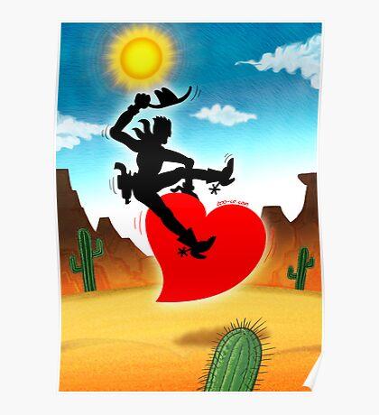 Cowboy Riding a Wild Heart Poster