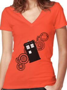 doctor who tardis r Women's Fitted V-Neck T-Shirt