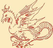 Red Dragon Print Albrecht Durer by Archpress