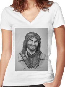 Aidan Turner as Kili from The Hobbit Trilogy Women's Fitted V-Neck T-Shirt