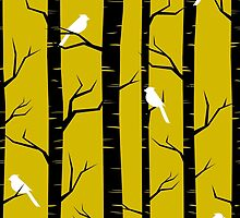 Birds and Trees in Yellow and Black by Iveta Angelova