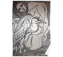 woman and heron Poster