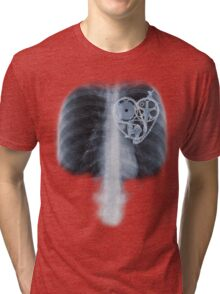 BiKE LOVE X Ray bicycle heart components Tri-blend T-Shirt
