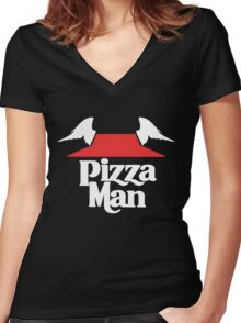 I Learned It From The Pizza Man. [LIGHT]  Women's Fitted V-Neck T-Shirt