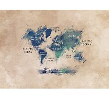 World map continents  Photographic Print