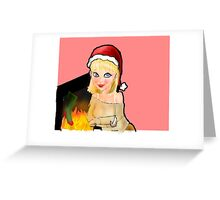 manga christmas girl by open fire Greeting Card