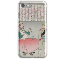 A Russian officer sitting at a table is about to eat but a Japanese soldier is taking the meal away indicating a Japanese victory over Russian forces 002 iPhone Case/Skin