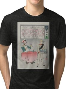 A Russian officer sitting at a table is about to eat but a Japanese soldier is taking the meal away indicating a Japanese victory over Russian forces 002 Tri-blend T-Shirt