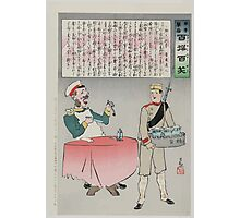 A Russian officer sitting at a table is about to eat but a Japanese soldier is taking the meal away indicating a Japanese victory over Russian forces 002 Photographic Print